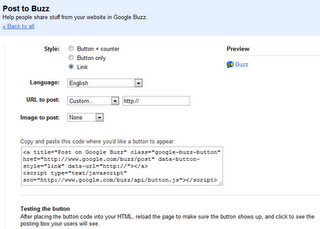 Google Buzz configuration