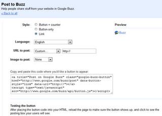 Google Buzz configuration