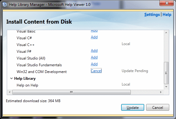 Visual Studio MSDN 2010 install content from disk choose components