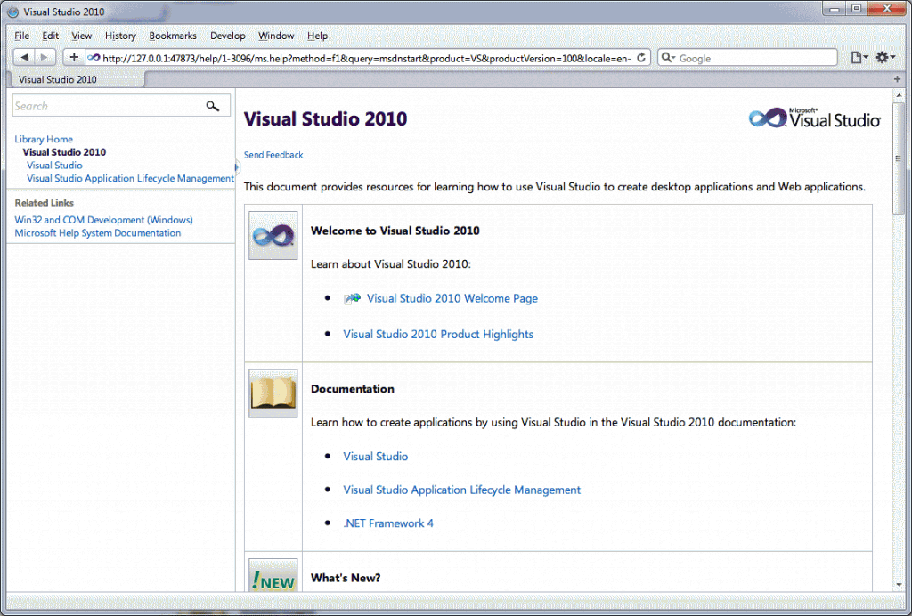 Visual Studio MSDN 2010 new look
